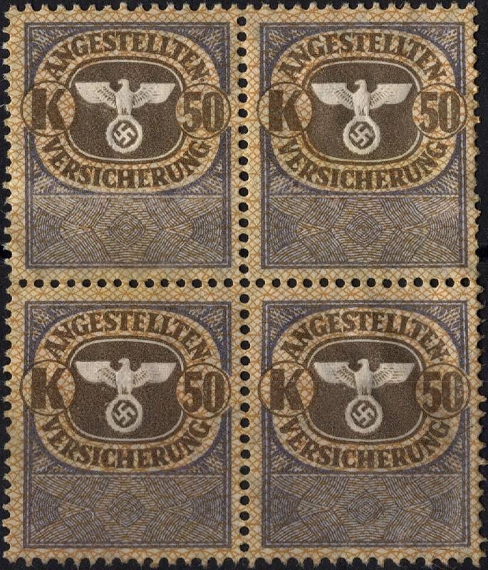 Stamp Germany Revenue Block WWII Fascism War War Medical Invalid K50 MNG