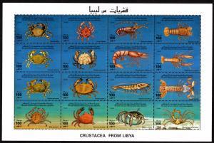 Libya - Mint Souvenir Sheet Scott #1550 (Crustaceans)