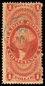 B625 U.S. Revenue Scott #R66c $1 Conveyance, 1871 cut cancel, CV = $27.50