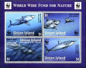Union Island 2002 Shortfin Mako Sharks marine life WWF collective s/s MNH