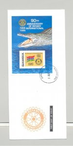 Gambia 1995 Crocodile, Reptiles, Rotary, Flags 1v Imperf S/S on FDC