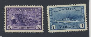 2x Canada Mint Stamps #261-50c & #262-$1.00 Destroyer Guide Value = $120.00