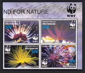 Micronesia WWF Feather Stars 4v Top Right Block of 4 with WWF Logo SG#1347-1350