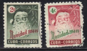 CUBA SC# 532+33  **USED** 1954   2c+4c  CHRISTMAS  SEE SCAN