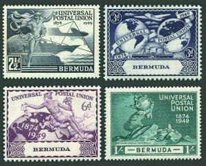 Bermuda 138-141,hinged.Michel 125-128. UPU-75,1949.Mercury,Ship,Plane,Globe.