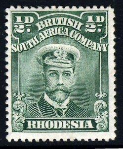 RHODESIA King Geprge V 1913 ½d. Deep Green Admiral SG 187 MINT