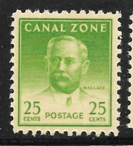 Canal Zone 140a: 25c Wallace, single, MHR, F-VF