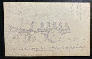 1918 Suez Egypt Army Post Office Hand Drawn Postcard cover To Middx England