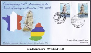MAURITIUS - 2015 300th FRENCH LANDING IN MAURITIUS / SHIPS FDC