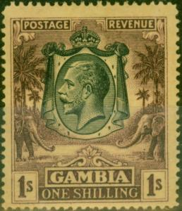 Gambia 1922 1s Purple-Yellow SG119 Fine Very Lightly Mtd Mint