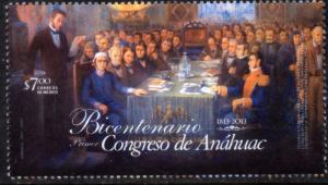 MEXICO 2829, CONGRESS OF ANAHUAC, 200th ANNIVERSARY. MINT, NH. F-VF.