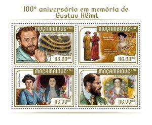Mozambique Art Stamps 2018 MNH Gustav Klimt 100th Memorial Paintings 4v M/S