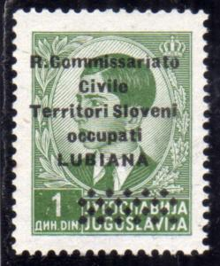 LUBIANA 1941 R. COMMISSARIATO 1d MNH