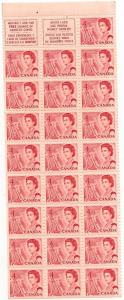 Canada USC #457c Mint Pane of 25 1968 4c Carmine Rose - VF-NH