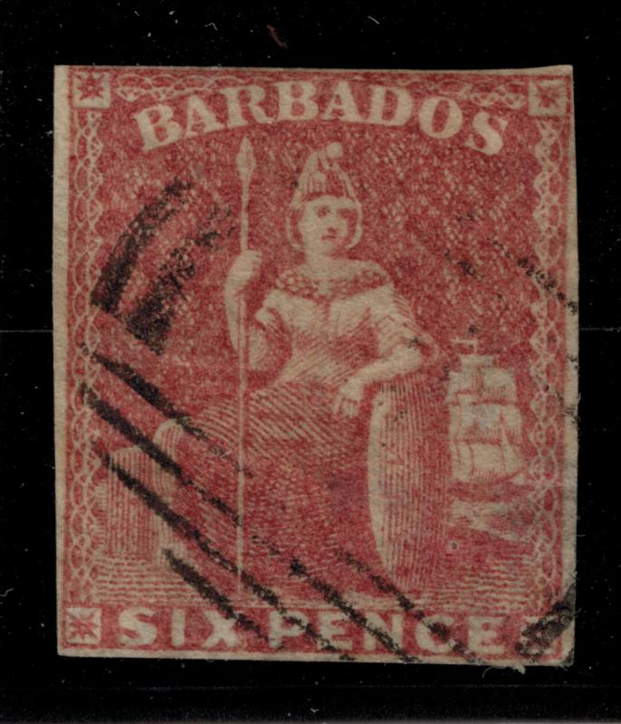 Barbados Stamp Scott #8, Used - Free U.S. Shipping, Free Worldwide Shipping O...