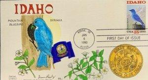 Paslay Classic Cover Handpainted 2439 Idaho Mountain Bluebird Syringa State Seal