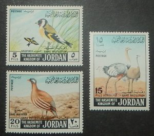 Jordan 552, 554-55. 1968 5f, 15f and 20f Protected Game, NH