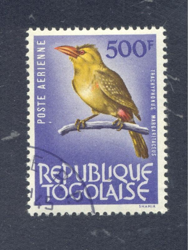 Birds: Yellow-breasted Barbet, Air Post Issue, 1964 Togo, Scott #C-40
