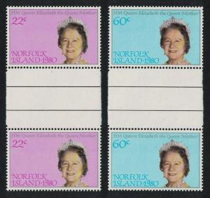 Norfolk 80th Birthday of Queen Mother Gutter Pairs SG#252-253 SC#271-272
