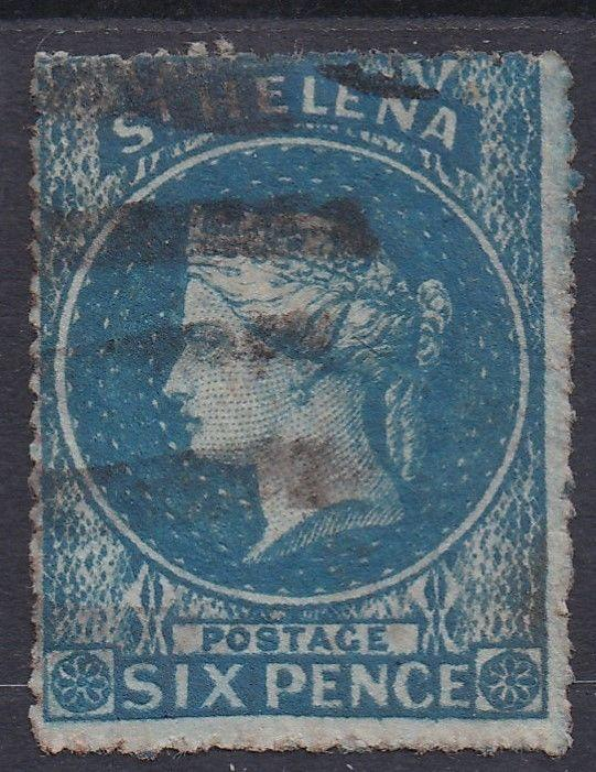 ST HELENA 1861 QV 6D ROUGH PERF USED