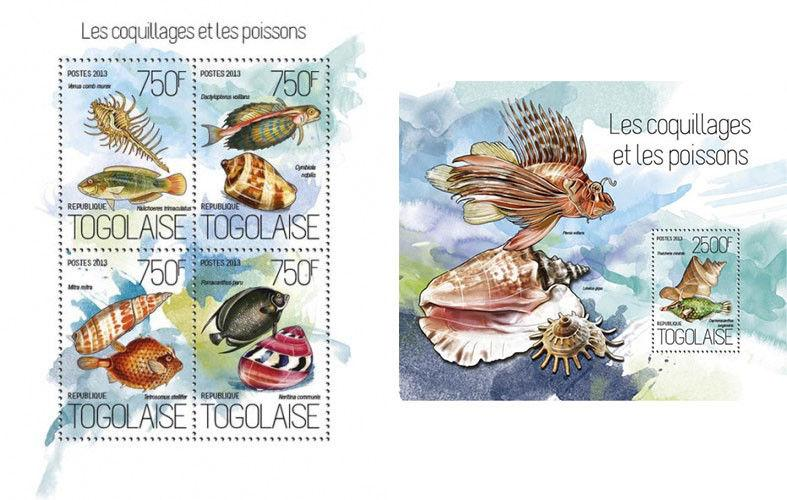 Shells Seashells Muscheln Fishes Marine Fauna Nature Togo MNH stamp set