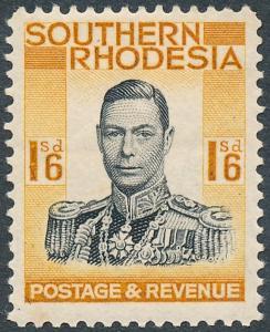 Southern Rhodesia 1937 1s6d Black & Orange-Yellow SG49 MH