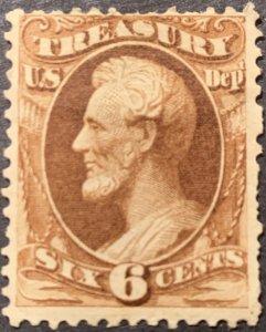 #O75 – 1873 6c brn, treasury, hard paper.  Mint LH.  Light Part Gum.