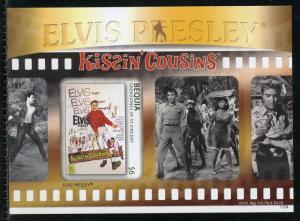BEQUIA  ELVIS PRESLEY KISSIN COUSINS  IMPERFORATE SOUVENIR SHEET II  MINT NH