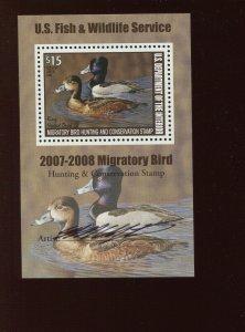 RW74b Federal Duck Mint Mini Duck Stamp Souvenir Sheet NH (RW74 A3)