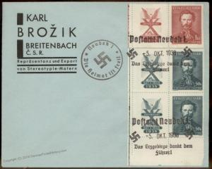 3rd Reich Germany 1938 Neudeck Sudetenland Annexation Provisional Cover 90473