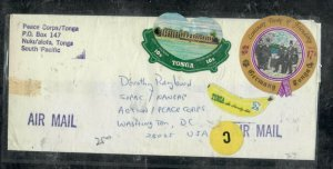 TONGA COVER (PP0301B) 1976 FREE FORM STAMPS X3 A/M COVER TO PEACE CORPS