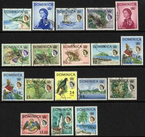Dominica SG162/78 Set of 17 Fine Used Cat 48 pounds