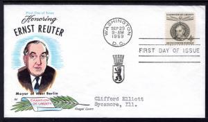 US 1136 Ernst Rueter Fluegel Typed FDC