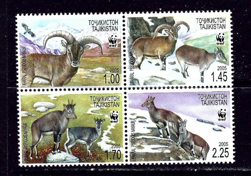 Tajikistan MNH Block 266a-d Bharal Fauna WWF 2005