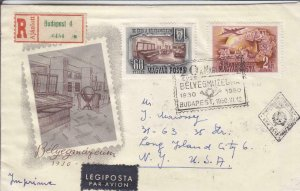 1950, Budapest, Hungary to Long Island, NY, Registered, Airmail, FDC (24280)