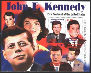 Dominica. 2002. Small sheet 3382-85. Kennedy, President of the United States,...