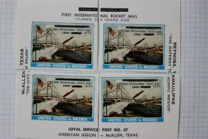 Test Rocket Mail Local Post #37 test Rocket US to Mexico cut sheet stamp 1971