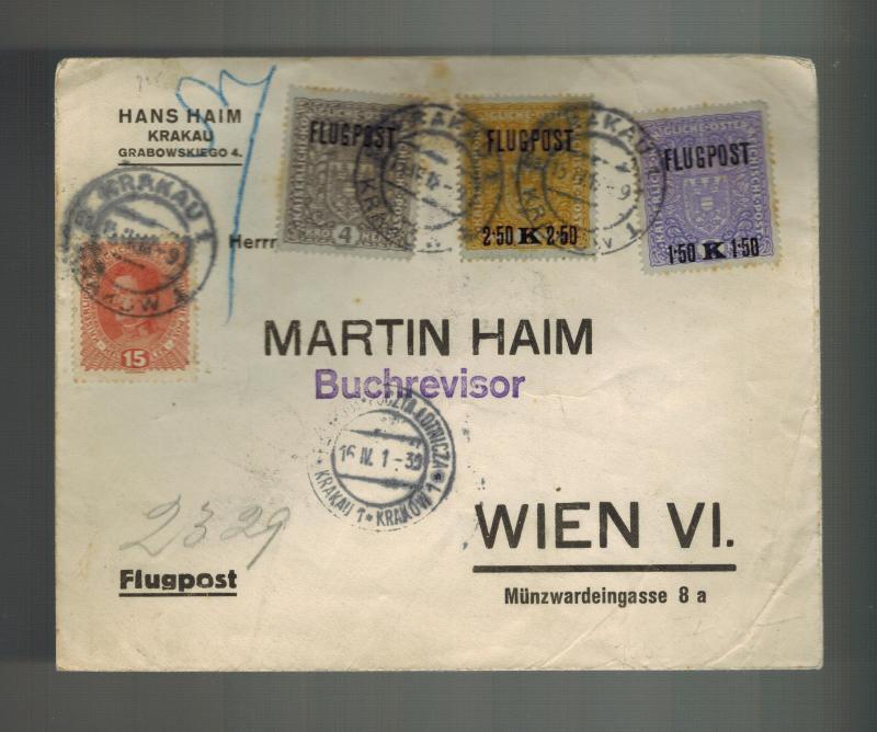 1916 Krakow Austria Poland Airmail Cover to Vienna # C1-C3 Martin Haim