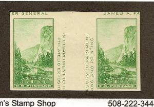 769 Unused, XF, 1c. National park Gutter Pair,  scv: $7.50