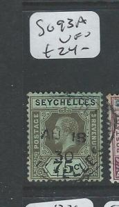 SEYCHELLES   (P0108B) KGV 75C SG93A  VFU