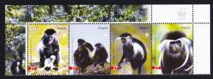 Angola WWF Black-and-white Colobus Top Strip with WWF Logo SG#1717-1720 SC#1279