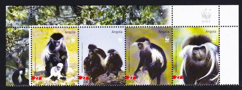 Angola WWF Black-and-white Colobus Top Strip with WWF Logo SG#1717-1720 SC#1279