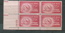 SCOTT # C44 AIR MAIL PLATE BLOCK MINT NEVER HINGED !!