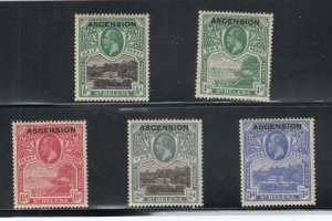 ASCENSION ISLAND # 1-5 VF-MLH KGV ISSUES CAT VALUE $71
