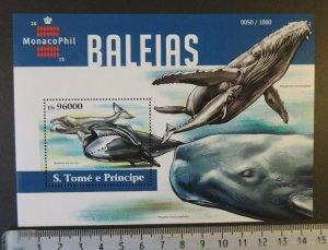St Thomas 2015 whales marine life monacophil stamp exhibition s/sheet mnh