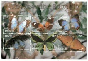 Maldives MNH S/S Beautiful Butterflies 6 Stamps
