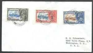 TRINIDAD 1935 Jubilee 3 values - first day cancels on cover................62074