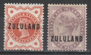 ZULULAND 1888 QV GREAT BRITAIN OVERPRINT 1/2D AND 1D
