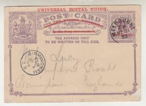 VICTORIA, Postal Card, 1899 1 1/2d. on 1d. UPU, Melbourne to GB.
