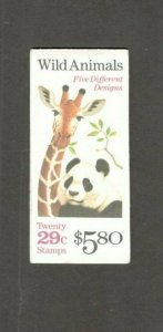 BK202 Wild Animals Booklet Of 20 Mint/nh FREE SHIPPING